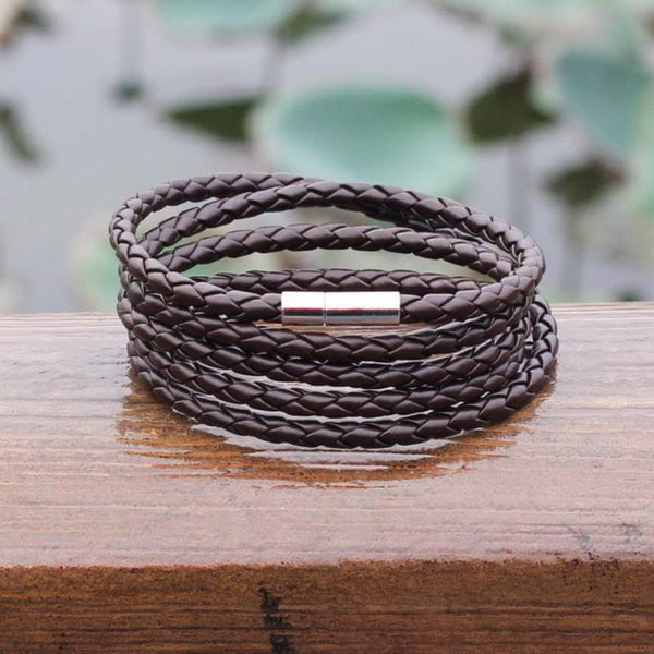 Vintage Long 5 Wraps Leather Bracelet