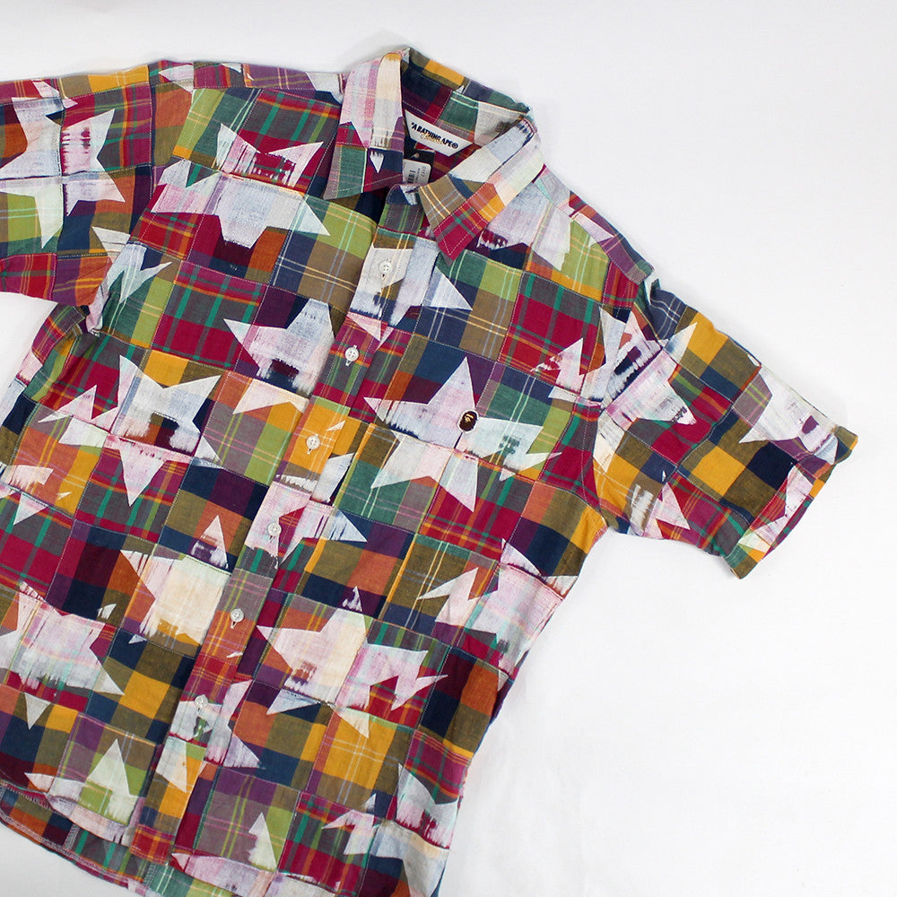Bape, Multi Plaid-Sta, Short Sleeve Button up - Sz. M