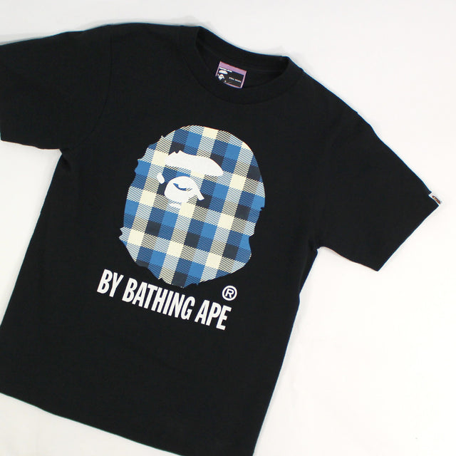 Bape, Blue Plaid Tee - Sz. XS