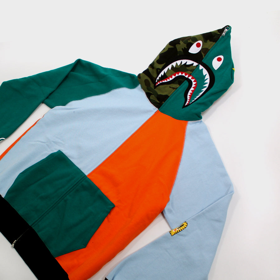 Bape, Multi Color Patchwork Shark Full Zip Sz. XXL