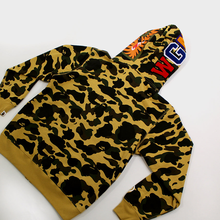Bape, Yellow Camo Shark Full Zip Sz. L