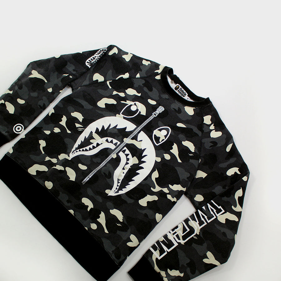 BAPE, Glow in the Dark Camo Shark Crewneck Sz. XL