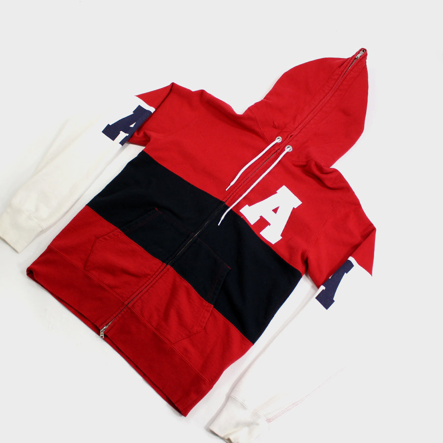 BAPE, Red White Blue Ape Full Zip Up Hoodie Sz. L