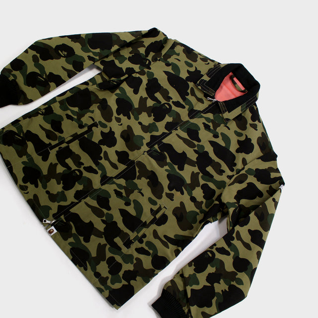 BAPE, Green Camo Windstopper Coach Jacket Sz. M