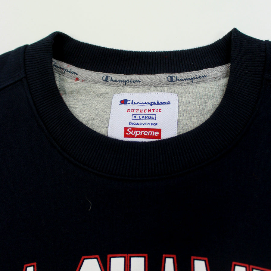 Supreme Navy Champion Stay In School Crewneck Sz. XL