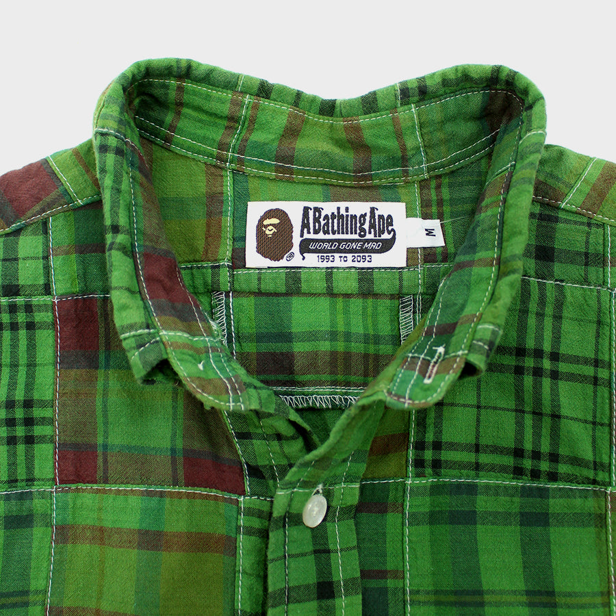 Bape, Green Patch Work Button up - Sz. M