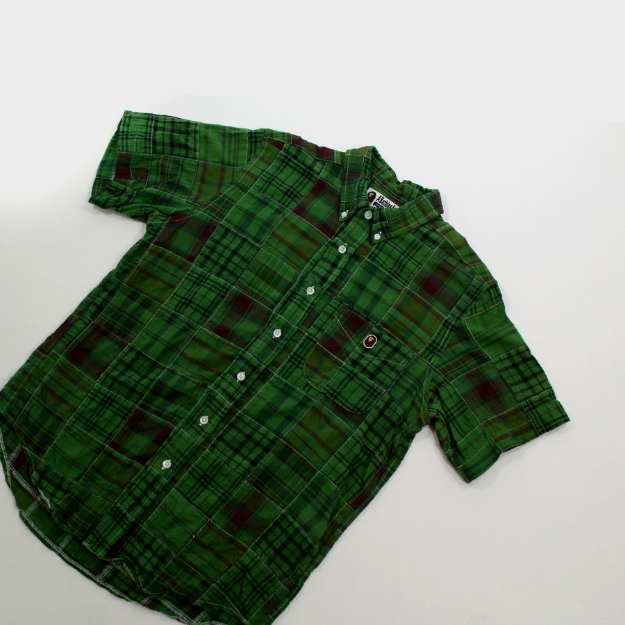 BAPE, Green Patchwork Polo Sz. M