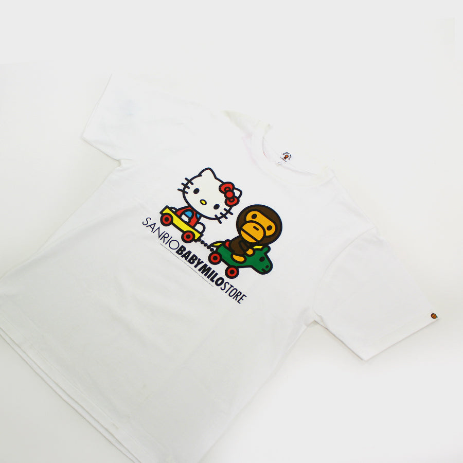 BAPE, White Hello Kitty Baby Milo Tee Sz. L
