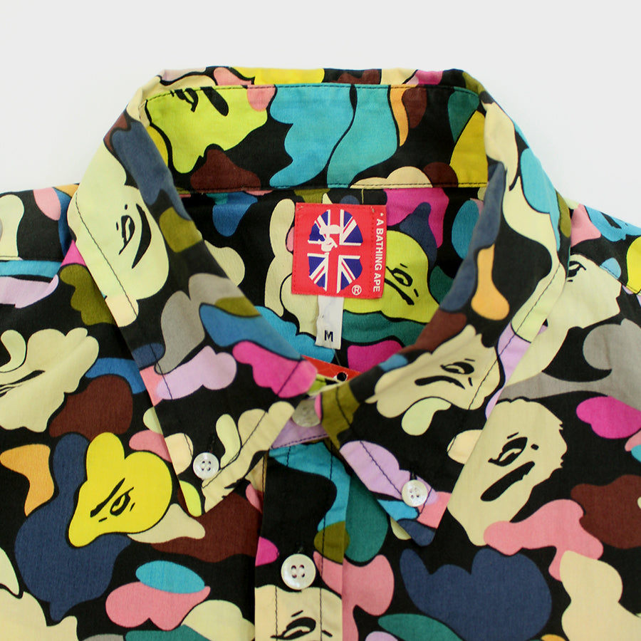BAPE, Black Multi Color LS Button Up Sz. M