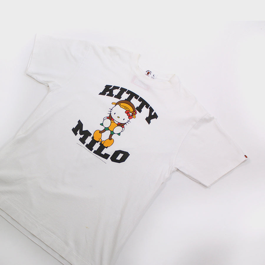 BAPE, White Hello Kitty Milo Collab Tee Sz. L