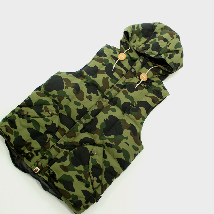 Bape, Green Camo Hooded Vest Sz. M