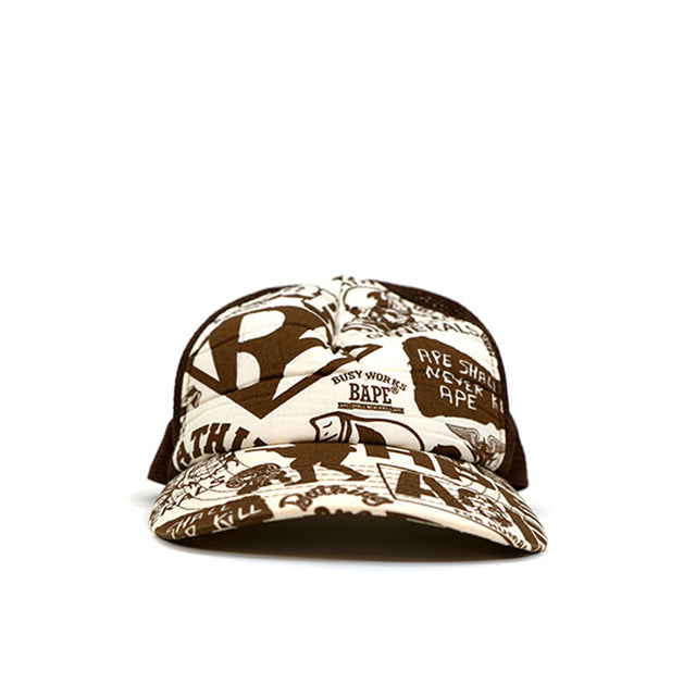 OG BAPE AAPE General Print Brown Trucker Hat