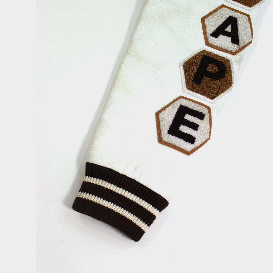 BAPE, Brown Busy Works Varsity Jacket Sz. M