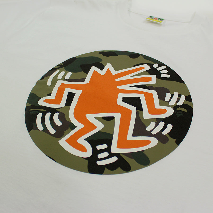 BAPE, White Kieth Haring Circle Logo Tee Sz. XL