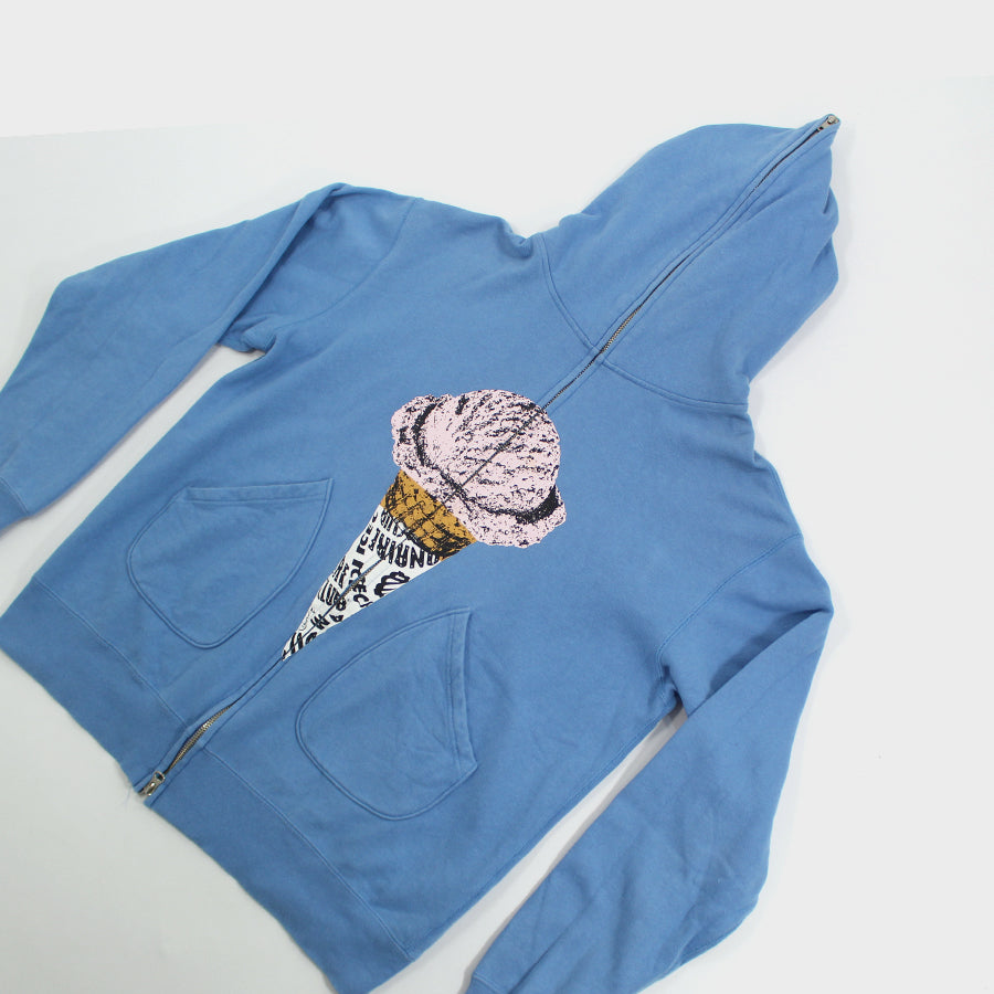 Ice Cream, Blue Full Zip Hoodie Sz. L