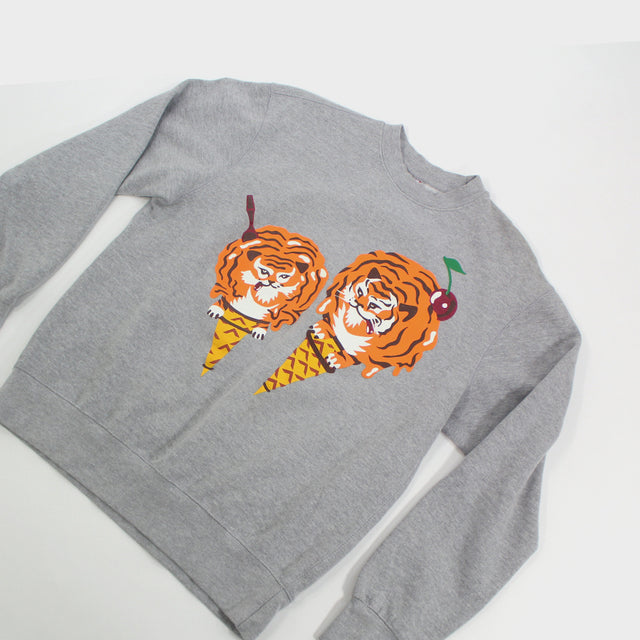 Ice Cream, Grey Tiger Crewneck Sz. M