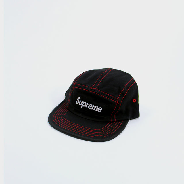 Supreme, black contrast stitch camp 6-panel