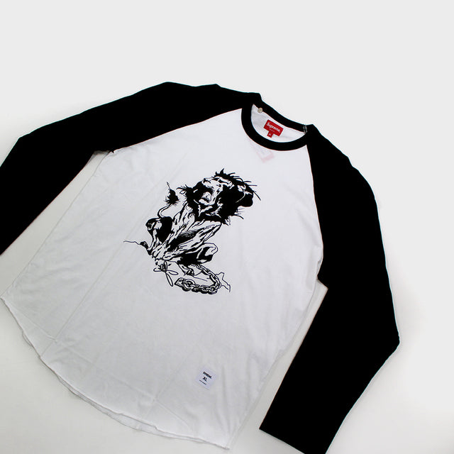 Supreme, Black Lion Raglan Baseball Tee Sz. XL