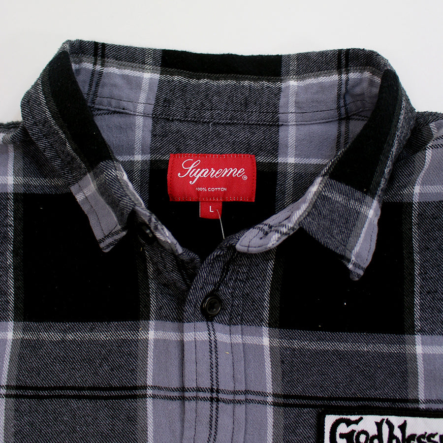 Supreme, Black God Bless Flannel Sz. L