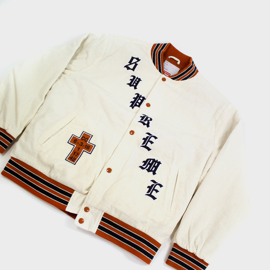 Supreme, White Old English Varsity Jacket Sz.L