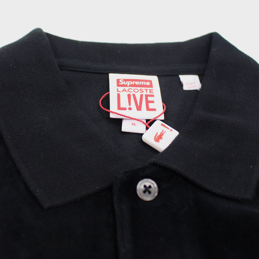 Supreme, Black Lacoste Velvet Polo Sz. XL
