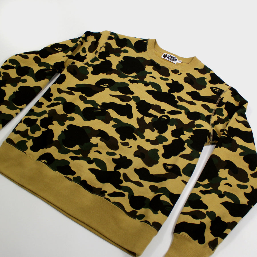 Bape, Yellow Camp Crewneck Sz.XL