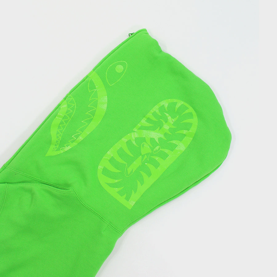 BAPE, Neon Green Shark Full Zip Sz. XL