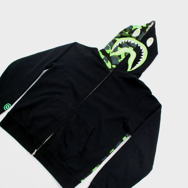 BAPE, Neon Camo Shark Full Zip Sz. L