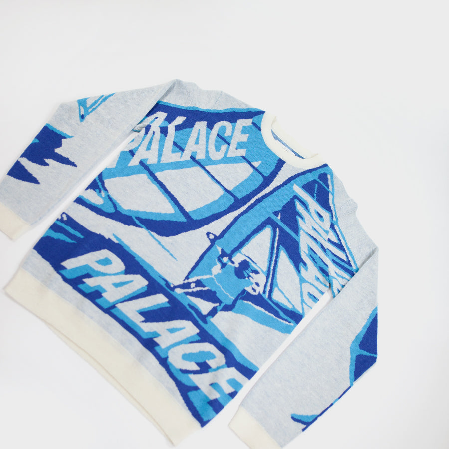 Palace, White Trim-Sail Knit Sweater Sz.L