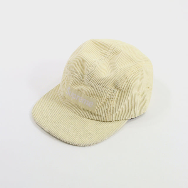 Supreme, pale yellow corduroy camp cap
