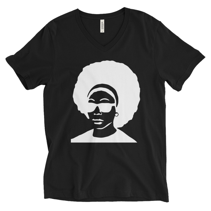 White Afro Short Sleeve V-Neck T-Shirt