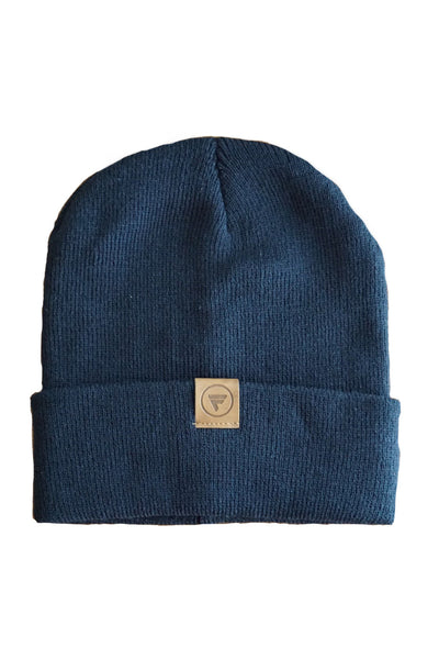 navy blue flx life rollup beanie slouch beanie with leather logo