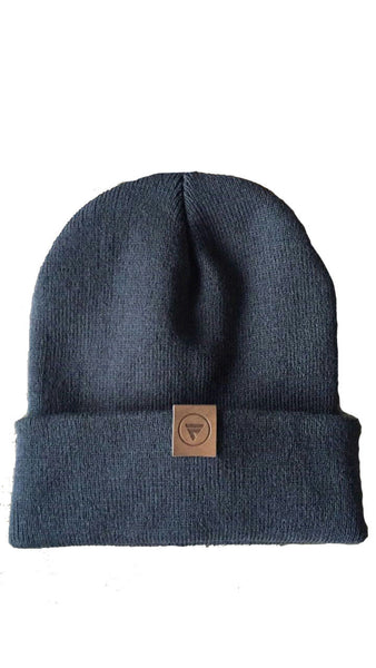 dark gray flx life rollup beanie slouch beanie with leather logo