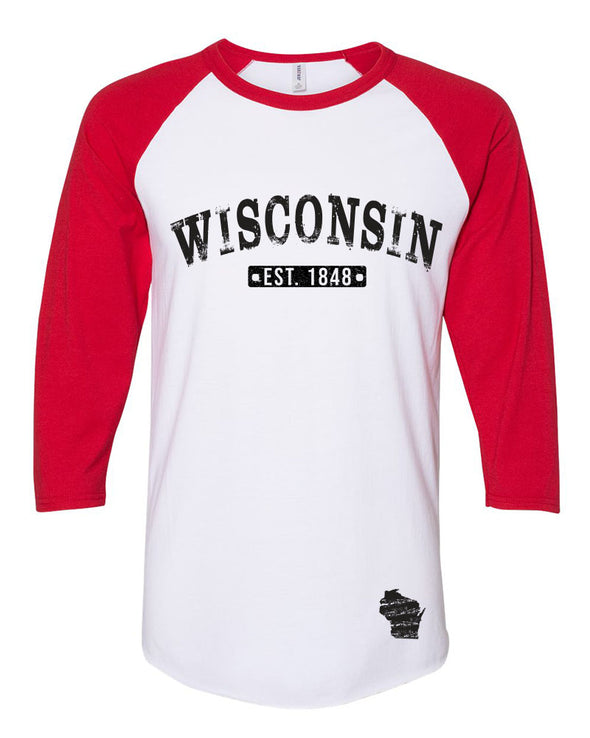 Wisconsin Est 1848 Baseball Tee (Red)