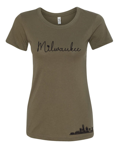 Milwaukee, WI ladies Tee (Camo Green)