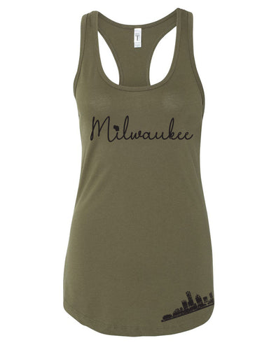 Milwaukee, WI ladies Tank (Camo Green)