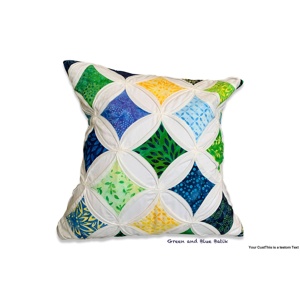 Cathedral Window Pillow Cover - Large - Green and blue Batik