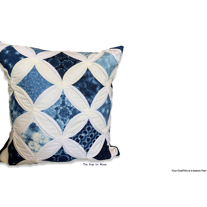 Cathedral Window Pillow Cover - Large - Tie Dye in Blue