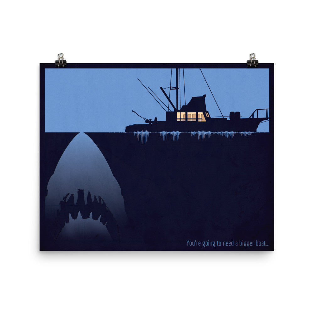 "Digital Soundform inspired by Jaws, ""You're going to need a bigger boat"" 20 x 16 poster"