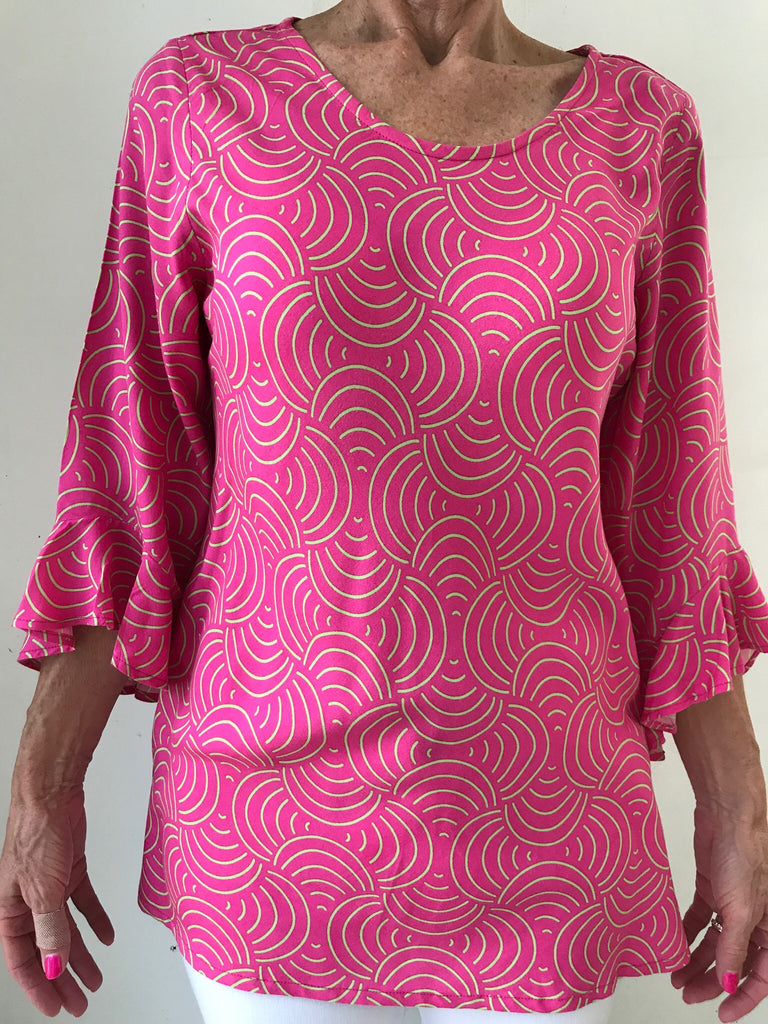 666f476b078e Blush Celery Top with 3 4 Ruffled Sleeve – Lilly and Lacey