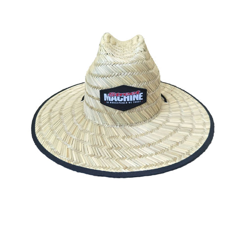 Street Machine straw hat with black trim