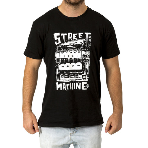 Street Machine Black t-shit with KB Hemi Design Front