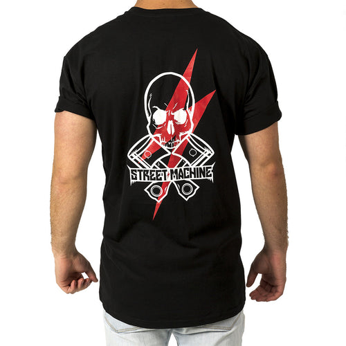 Street Machine Mens Black skull t-shirt back