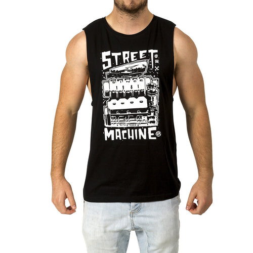 Street Machine Black T-shirt Mens Front