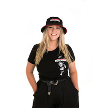 Street Machine Red Trim Bucket Hat on model