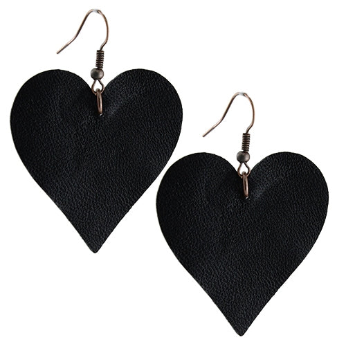 Heart Earrings- Leather