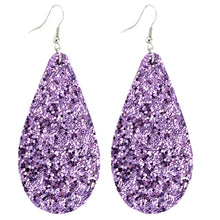 Leather Teardrop Earrings - Glitter