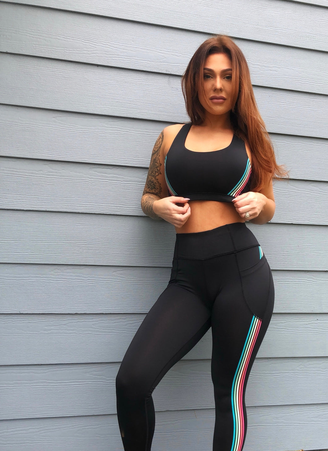 Black Stripe Sports Bra