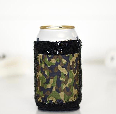 BLACK SEQUIN CAMO POCKET KOOZIE