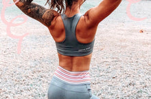 Grey workout sports bra